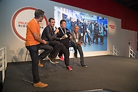"""The Cycling Show at The Excel Centre opened today it is part of the Prudential RideLondon Festival in London.<br /> Geoff Wightman on stage interviewing the """"fixing dad"""" filmmakers.<br /> <br /> Photo: Jed Leicester/Silverhub for Prudential RideLondon<br /> <br /> Prudential RideLondon is the world's greatest festival of cycling, involving over 100,000+ cyclists – from Olympic champions to a free family fun ride - riding in events over closed roads in London and Surrey over the weekend of 28th to 30th July 2017. <br /> <br /> See www.PrudentialRideLondon.co.uk for more.<br /> <br /> For further information: media@londonmarathonevents.co.uk"""