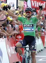July 11, 2018 - Quimper, France - PETER SAGAN (SVK) of Bora - Hansgrohe wins the sprint during stage 5 of the 105th edition of the 2018 Tour de France cycling race, a stage of 204.5 kms between Lorient and Quimper in Quimper, France.  (Credit Image: © Panoramic via ZUMA Press)