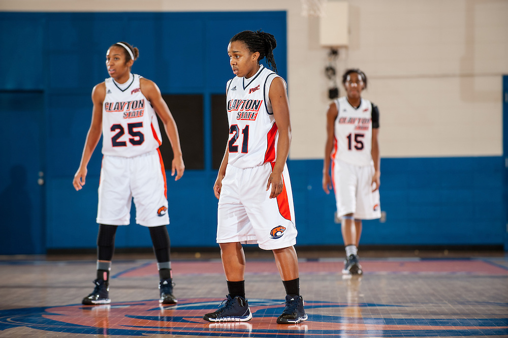 Nov. 30, 2013; Morrow, GA, USA; Clayton State University's women's point guard Tweety Hawkins, forward Kiana Morton, and forward/center Shacamra Jackson during the game against Tusculum University at CSU. CSU won 89-61. Photo by Kevin Liles / kevindliles.com