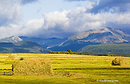 Haystacks with Pintler Mountains in the Big Hole Valley near Wisdom Montana