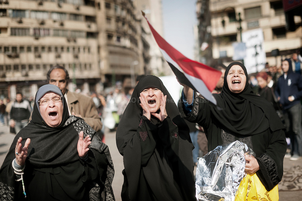2 december, Cairo. Egypt 2011. Women protesting against SCAF (Army parliament) violencies in Tahrir.