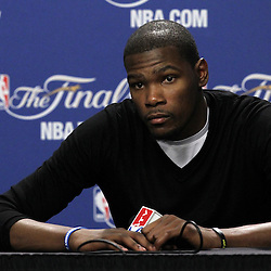 Jun 19, 2012; Miami, FL, USA; Oklahoma City Thunder small forward Kevin Durant talks to the media during the post game press conference after game four in the 2012 NBA Finals against the Miami Heat at the American Airlines Arena. Miami won 104-98. Mandatory Credit: Derick E. Hingle-US PRESSWIRE