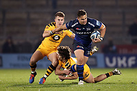 Rugby Union - 2019 / 2020 Gallagher Premiership - Sale Sharks vs. Wasps <br /> <br /> Rohan Janse van Rensburg of Sale Sharks is tackled by Billy Searle and Michael Le Bourgeois of Wasps, at AJ Bell Stadium,<br /> <br /> COLORSPORT/PAUL GREENWOOD