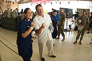 January 27 2016: Jon Gruen let Alexandria Brooks wear his Super Bowl ring for a photo during the Pro Bowl Draft at Wheeler Army Base on Oahu, HI. (Photo by Aric Becker/Icon Sportswire)
