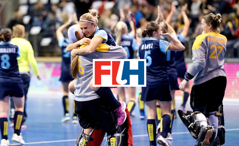 BERLIN - Indoor Hockey World Cup<br /> Quarterfinal 2: Ukraine - Switzerland<br /> foto: Ukraine celebrate their win.<br /> WORLDSPORTPICS COPYRIGHT FRANK UIJLENBROEK