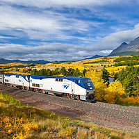 fall colorsand glacier national park, amtrak train,