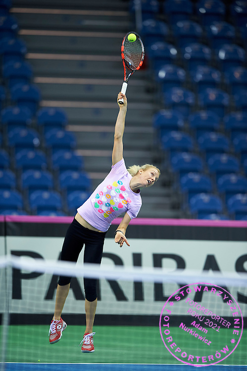 Urszula Radwanska from Poland plays during official training session two days before the Fed Cup / World Group 1st round tennis match between Poland and Russia at Krakow Arena on February 5, 2015 in Cracow, Poland.<br /> <br /> Poland, Cracow, February 5, 2015<br /> <br /> Picture also available in RAW (NEF) or TIFF format on special request.<br /> <br /> For editorial use only. Any commercial or promotional use requires permission.<br /> <br /> Adam Nurkiewicz declares that he has no rights to the image of people at the photographs of his authorship.<br /> <br /> Mandatory credit:<br /> Photo by &copy; Adam Nurkiewicz / Mediasport