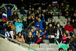 Spectators during football match between National Teams of Slovenia and Norwey in UEFA Nations League 2019, on November 16, 2018 in SRC Stozice, Ljubljana, Slovenia. Photo by Grega Valancic / Sportida