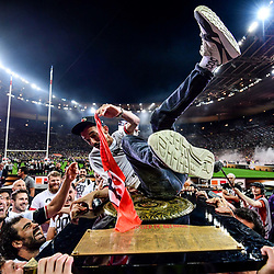 Team of Toulouse celebrates the victory with Big Flo et Oli on the trophy during the Top 14 Final match between Toulouse and Clermont at Stade de France on June 15, 2019 in Paris, France. (Photo by Anthony Dibon/Icon Sport)