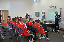NEWPORT, WALES - Monday, September 22, 2014: Wales' coach Ian Rush during a team meeting before the Under-16's International Friendly match against France at Dragon Park. (Pic by Cledwyn Ashford/Propaganda)