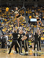WICHITA, KS - NOVEMBER 12:  Wichita State Shockers cheerleaders perform during a game against the Western Kentucky Hilltoppers during the first half on November 12, 2013 at Charles Koch Arena in Wichita, Kansas.  (Photo by Peter Aiken/Getty Images) *** Local Caption ***