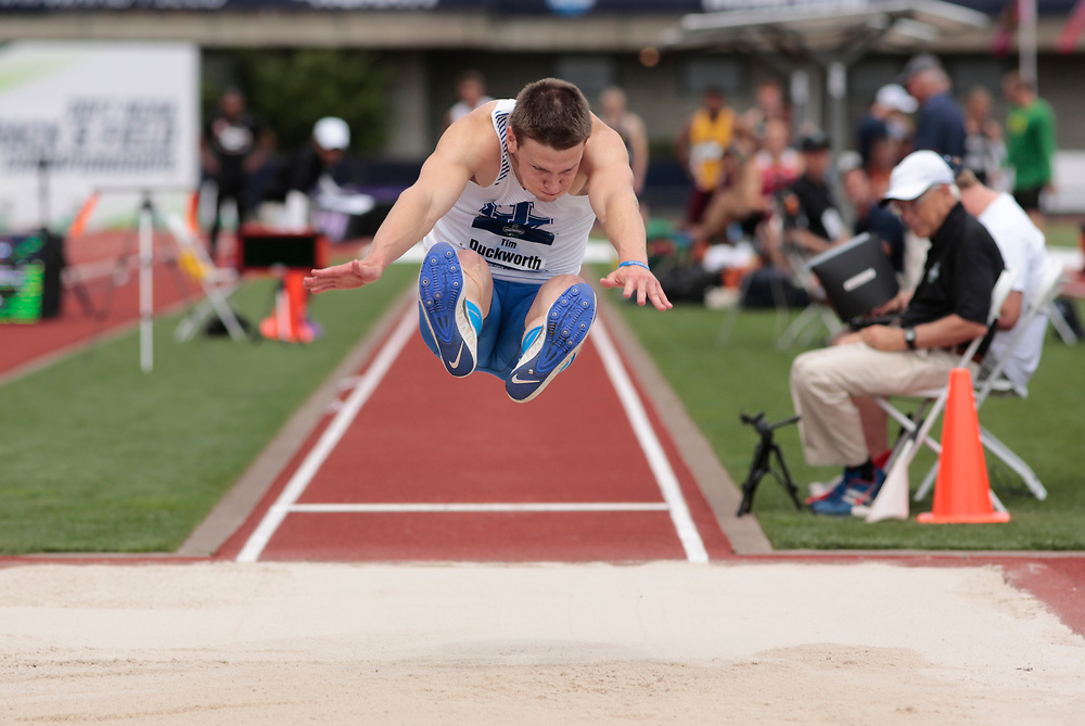 Kentucky's Tim Duckworth sours in the long jump during the men's decathlon on the first day of the NCAA college track and field championships in Eugene, Ore. on Wednesday, June 7, 2016 (AP Photo/Timothy J. Gonzalez)