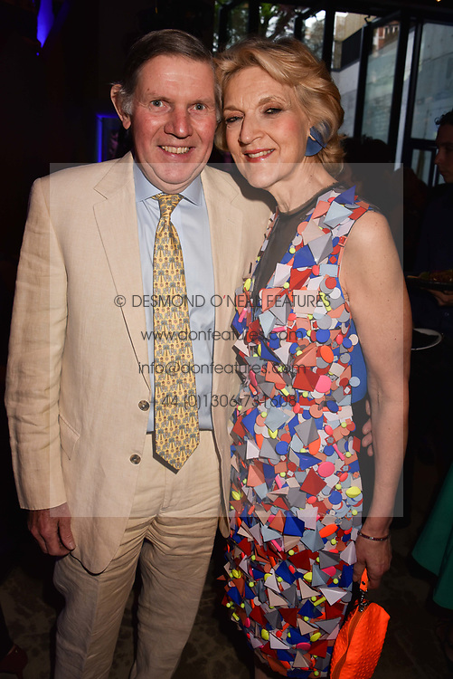 Fiona Shackleton and her husband Ian Shackleton at the launch of Nobu Hotel London Shoreditch,10-50 Willow Street, London, England. 15 May 2018.