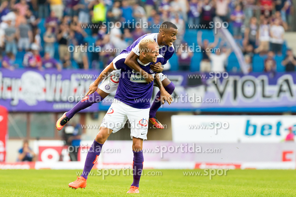 10.09.2016, Ernst Happel Stadion, Wien, AUT, 1. FBL, FK Austria Wien vs RZ Pellets WAC, 7. Runde, im Bild Raphael Holzhauser (FK Austria Wien), Felipe Pires (FK Austria Wien) jubeln ueber das Tor zum 2:0 // during Austrian Football Bundesliga 7th round match between FK Austria Vienna and RZ Pellets WAC at the Ernst Happel Stadion, Vienna, Austria on 2016/09/10, EXPA Pictures © 2016, PhotoCredit: EXPA/ Sebastian Pucher