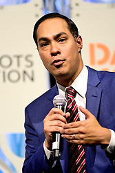 Sec. Julian Castro at Netroots Nation convention in Philadelphia, PA on July 13, 2019. Democratic Presidential hopefuls  Sen. Elizabeth Warren, Sen. Kirsten Gillibrand, Sec. Julian Castro and Gov. Jay Inslee react to questions during the Daily Kos/Netroots Nation candidate forum at the Pennsylvania Convention Center.