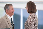 18210McBee Building Community Celebration: Diagnostic Hybrids: Graduation Ceremony & Lease signing...US Senator, George Voinovich & Linda Clark,Director, Ohio University Innovation Center