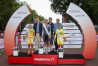 Barbara Guarischi of Velcro Sports, and Shelley Olds and Annalisa Cucinotta of Ale Cippolini on the podium for the RideLondon Grand Prix Pro Women&rsquo;s Race, during Prudential RideLondon,  2015 Saturday 1st August, 2015. <br /> <br /> Prudential RideLondon is the world&rsquo;s greatest festival of cycling, involving 95,000+ cyclists &ndash; from Olympic champions to a free family fun ride - riding in five events over closed roads in London and Surrey over the weekend of 1st and 2nd August 2015. <br /> <br /> Photo: Jon Buckle for Prudential RideLondon<br /> <br /> See www.PrudentialRideLondon.co.uk for more.<br /> <br /> For further information: Penny Dain 07799 170433<br /> pennyd@ridelondon.co.uk