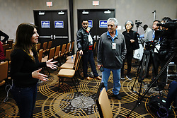 A team from Middle East network Al Arab broadcasts from the ballroom at the election night party for Ilhan Omar, who is poised to become the first Somali-American elected to Congress, representing Minnesota's Fifth District, in Minneapolis on Tuesday, November 6, 2018. Photo by Mark Vancleave/Minneapolis Star Tribune/TNS/ABACAPRESS.COM