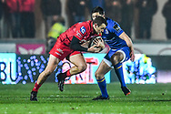 Scarlets' Paul Asquith in action <br /> <br /> Photographer Craig Thomas/Replay Images<br /> <br /> Guinness PRO14 Round 17 - Scarlets v Leinster - Friday 9th March 2018 - Parc Y Scarlets - Llanelli<br /> <br /> World Copyright © Replay Images . All rights reserved. info@replayimages.co.uk - http://replayimages.co.uk