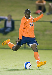 Virginia Cavaliers midfielder Tony Tchani (23) shoots against SMU.  The #18 ranked Virginia Cavaliers fell to the #14 ranked Southern Methodist Mustangs 3-1 in NCAA men's soccer at Klockner Stadium on the Grounds of the University of Virginia in Charlottesville, VA on August 31, 2008.