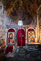 Georgie, Svanetie, la Haute Svanetie, Ushguli, fresque à l'intérieur d'une acienne eglise // Georgia, Svaneti, Ushguli, the frescoes inside of an ancient church