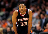 Feb. 15, 2012; Phoenix, AZ, USA;  Atlanta Hawks guard Willie Green (33) reacts on the court against the Phoenix Suns at the US Airways Center.  The Hawks defeated the Suns 101-99. Mandatory Credit: Jennifer Stewart-US PRESSWIRE.
