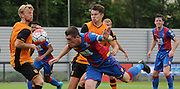 Connor Dymond going close with a headed chance during the Final Third Development League match between U21 Crystal Palace and U21 Hull City at Selhurst Park, London, England on 10 August 2015. Photo by Michael Hulf.