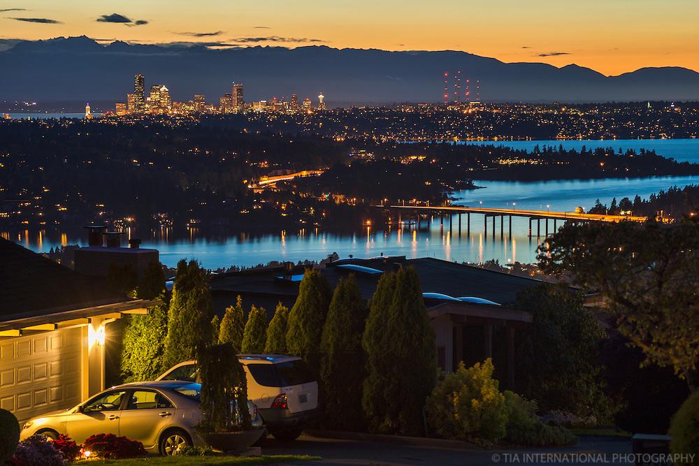 Sunset over Seattle & Lake Washington
