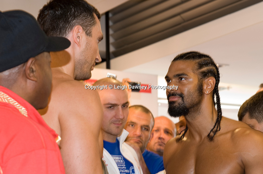 Friday 1st July 2011. David Haye & Wladimir Klitschko at the Official Weigh In, Hamburg before for the WBA, WBO & IBF Heavyweight Title. Photo credit: Leigh Dawney 2011