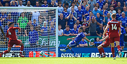 LEICESTER, ENGLAND - Saturday, September 1, 2018: Leicester City's Rachid Ghezzal scores the first goal during the FA Premier League match between Leicester City and Liverpool at the King Power Stadium. (Pic by David Rawcliffe/Propaganda)