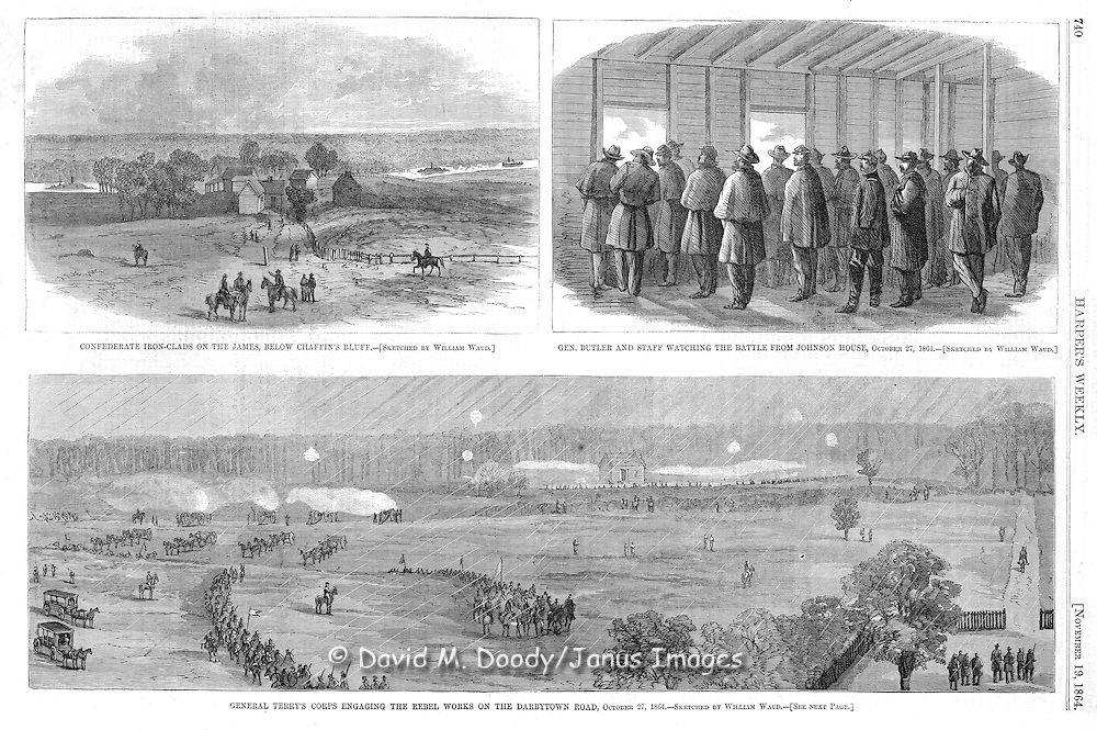 Civil War: Confederate Ironclads on the James River, Virginia.and General Terry's Corps at Darbytown Road Oct 27.Harper's Weekly, November 19, 1864..This scan is protected by copyright.© David M Doody, Image Alchemy Collection 2001