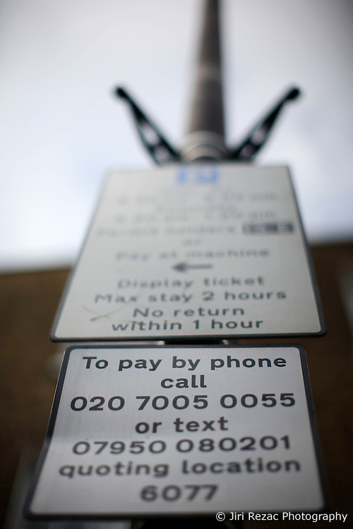 UK ENGLAND LONDON 1MAY12 - Parking meter sign in Islington, North London....jre/Photo by Jiri Rezac....© Jiri Rezac 2012