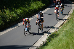 Anisha Vekemans (Lotto Soudal) and Emma Johansson (Wiggle High5) lead the chase at the 97 km Stage 3 of the Lotto Belgium Tour 2016 on 9th September 2016 in Geraardsbergen, Belgium. (Photo by Sean Robinson/Velofocus).