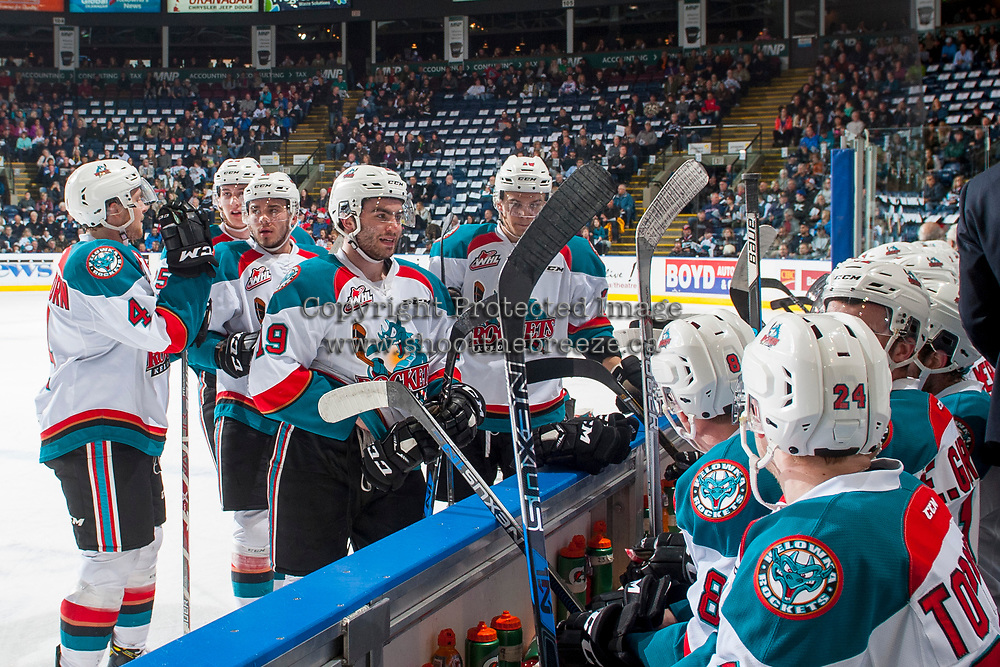 KELOWNA, CANADA - APRIL 7: Dillon Dube #19 of the Kelowna Rockets stands on the ice at the bench during a time out against the Portland Winterhawks on April 7, 2017 at Prospera Place in Kelowna, British Columbia, Canada.  (Photo by Marissa Baecker/Shoot the Breeze)  *** Local Caption ***