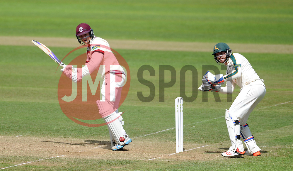 Somerset's Tom Abell flicks the ball. - Photo mandatory by-line: Harry Trump/JMP - Mobile: 07966 386802 - 15/06/15 - SPORT - CRICKET - LVCC County Championship - Division One - Day Two - Somerset v Nottinghamshire - The County Ground, Taunton, England.