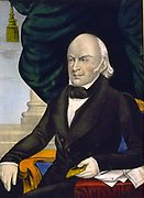 John Quincy Adams (1767-1848)  American diplomat and Sixth President of the United States of America 1825-1829.    Half-length portrait of Adams seated holding a small book. Hand-coloured lithograph c1848.