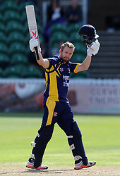 Durham's Mark Stoneman celebrates his hundred. - Photo mandatory by-line: Harry Trump/JMP - Mobile: 07966 386802 - 29/07/15 - SPORT - CRICKET - Somerset v Durham - Royal London One Day Cup - The County Ground, Taunton, England.