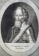 Robert Devereux, second Earl of Essex  (1566-1601) English courtier and soldier and favourite of Elizabeth I. Executed for high treason on 25 February 1601.  Engraving by Michiel van der Gucht (1660-1725) for Clarendon's 'History'.