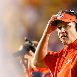Sep 21, 2013; Baton Rouge, LA, USA; Auburn Tigers head coach Gus Malzahn against the LSU Tigers during the second half of a game at Tiger Stadium. LSU defeated Auburn 35-21. Mandatory Credit: Derick E. Hingle-USA TODAY Sports