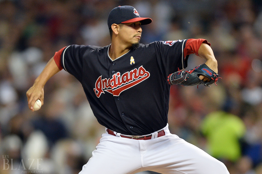Sep 2, 2016; Cleveland, OH, USA; Cleveland Indians starting pitcher Carlos Carrasco (59) throws a pitch  during the fifth inning against the Miami Marlins at Progressive Field. Mandatory Credit: Ken Blaze-USA TODAY Sports