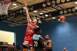 Tevin Falzon of Bristol Flyers has the ball stolen - Photo mandatory by-line: Arron Gent/JMP - 28/04/2019 - BASKETBALL - Surrey Sports Park - Guildford, England - Surrey Scorchers v Bristol Flyers - British Basketball League Championship