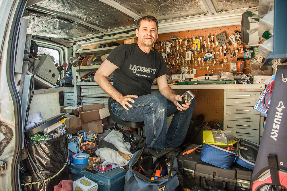 A very mobile Brian Cramer of Staint Helena Lock & Safe works from his truck while servicing a customer in Calistoga.