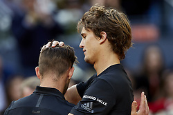 May 13, 2018 - Madrid, Madrid, Spain - Alexander Zverev (R) of Germany and Dominic Thiem of Austria embrace each other after their final match during day nine of the Mutua Madrid Open tennis tournament at the Caja Magica on May 13, 2018 in Madrid, Spain  (Credit Image: © David Aliaga/NurPhoto via ZUMA Press)