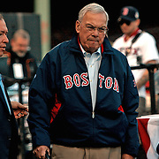 Thomas Menino, Boston longest-serving mayor, during the ceremony of award The Boston Red Sox trophy title of 2013 World Campion Serie.  To tle lef, with blue tie, Charles Steinberg, Red sox executive.