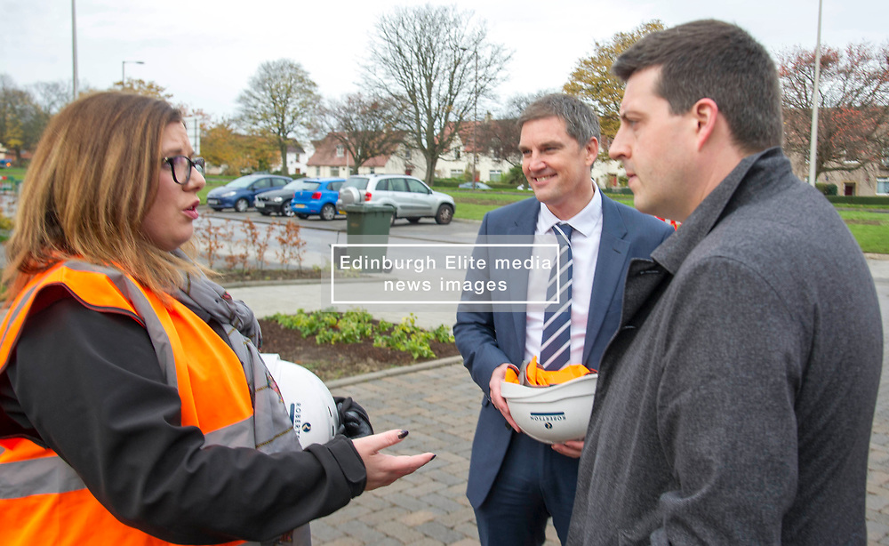 Pictured: Jamie Hepburn meets Stewart Shearer, Managing Director of Robertson Partnership Homes and Gemma Goorley, Director of Social Sustainability. <br /> <br /> Minister for Employability and Training Jamie Hepburn  responded to the latest Labour market statistics when he visited Robertson Partnership Homes in Edinburgh today and met some of their construction workers<br /> <br /> <br /> Ger Harley | EEm 15 November 2017