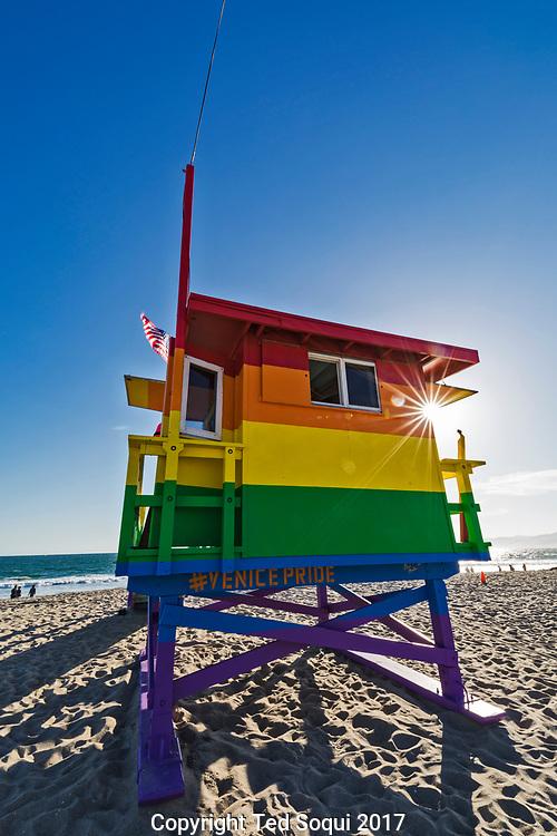 Venice Pride lifeguard tower on Venice Beach.