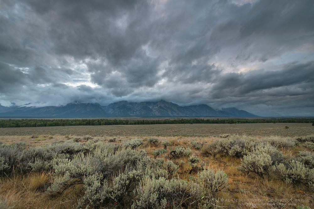 Storm clouds over Grant Teton National Park Wyoming