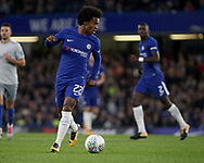 Willian of Chelsea in action. <br /> EFL Carabao Cup 4th round match, Chelsea v Everton at Stamford Bridge in London on Wednesday 25th October 2017.<br /> pic by Kieran Clarke, Andrew Orchard sports photography.