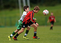 13 Aug 2016:  Rubin Doherty, left, Donegal, in action against Owen Morgan, Galway.  Boys U12 semi-final, Galway v Donegal.  2016 Community Games National Festival 2016.  Athlone Institute of Technology, Athlone, Co. Westmeath. Picture: Caroline Quinn