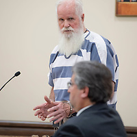 Former leader of the religious sect Aggressive Christianity James Green, 75, testifies during his sentencing hearing at the 13th Judicial District Courthouse in Grants on Friday.